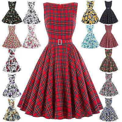 UK Womens 40's 50's Vintage Retro Solid Tea Party Prom Housewife Dress PLUS SIZE