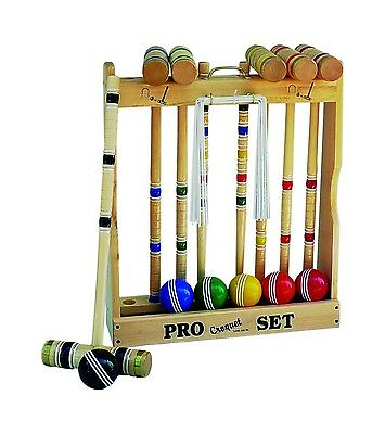 """Amish-Made Deluxe Wooden 6 Player Croquet Set, 24"""" Handles"""