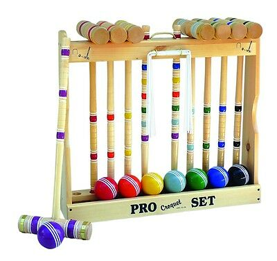 """Amish-Made Deluxe 8 Player Croquet Game Set, 32"""" Handles"""
