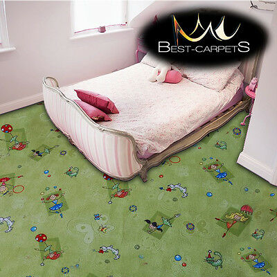 CHILDREN'S CARPET 'HAPPY' green Kids Play Area Bedroom, girls Fun Rug, ANY SIZE