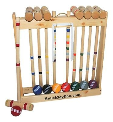 """Amish-Made Deluxe 8 Player Wooden Croquet Set, 28"""" Handles"""