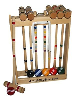 """Amish-Made Deluxe Wooden 6 Player Croquet Set, 32"""" Handles"""