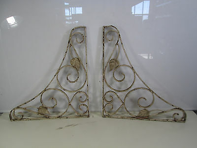 2 Vintage Wrought Iron Porch Brackets w/Leaf Design #1