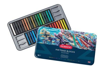 Derwent Inktense Blocks 36 Tin Set of Professional Water-Soluble Colour Sticks