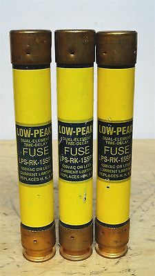 BUSSMANN * LPS-RK-15SP * Low Peak Time Delay Fuse * LOT OF 3 *NEW*