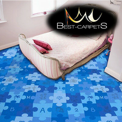 CHILDREN'S CARPET 'PUZZLE' blue Kids Play Area Bedroom, Fun Rug, ANY SIZE