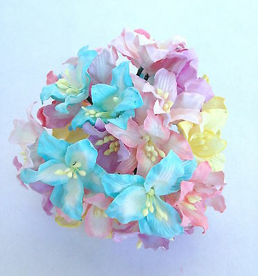 50x Pastel Colors Lily Mulberry paper flowers - Scrapbook, card, wedding, craft