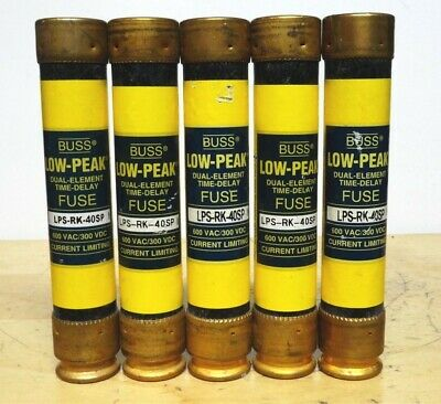 BUSSMANN * LPS-RK-40SP * Low Peak Time Delay Fuse * (LOT OF 5) *NEW*