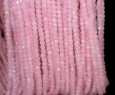 Pretty Natural 4mm Rose Quartz Gemstone Pink Faceted Round Loose Beads 15""