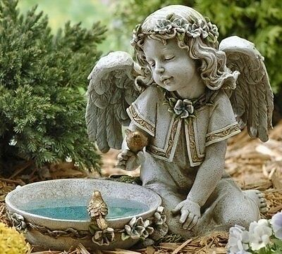Solar Bird Bath Statue Angel Design Outdoor Garden Decoration Yard Batteries
