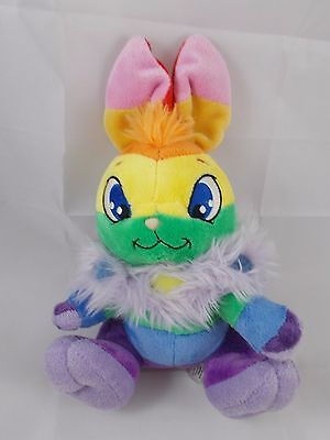 """Neopets Rainbow Cybunny Plush Sits 9"""" Tall to top of ears 2007"""