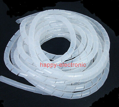 49FT(15M) Spiral Cable Wire Wrap Tube Computer Manage Cord 8mm