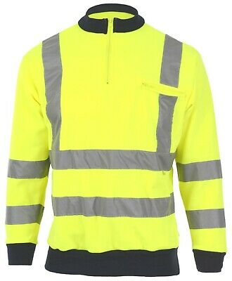 Yellow  Zip Collar Hi Visibility Sweatshirt Class 3 Hi Viz Sweat Shirt EN471