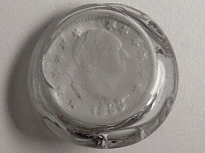 Jacques Israel Sulphide Paperweight Button- Benjamin Franklin 1863 Coin