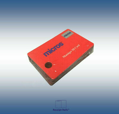 Package of 25 Genuine Red Micros Magnetic Managers Swipe ID Cards