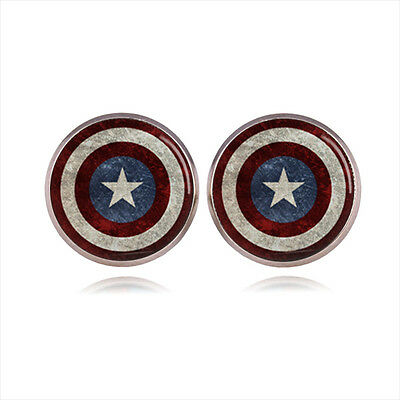 Captain America Marvel Comics Superhero Earrings Silver Ear Studs Earring