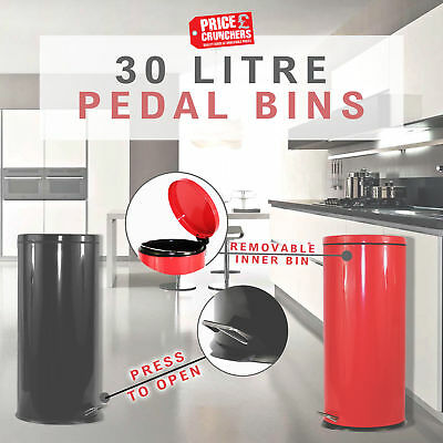 30 Litre Pedal Bin Kitchen Bathroom Large Small Metal Recycling Stainless Steel