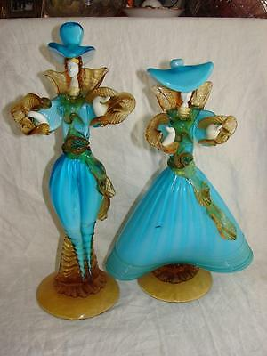 Stunning Pair of Large Murano Glass Toffolo Courtesan Figures c1960+