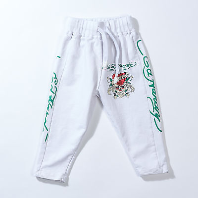 ED HARDY by Christian Audigier White Cotton Sweat Pants Athletic Trousers Size L