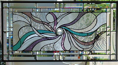 """Stained Glass window hanging 30 X 15 3/4"""" POLISHED BRASS FRAME"""