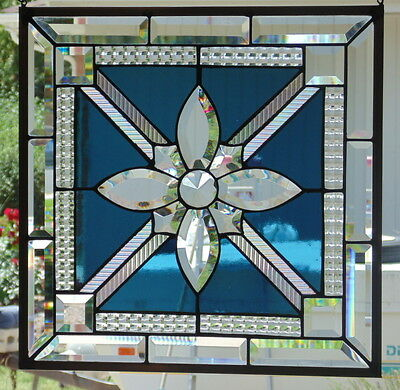 "Stained Glass window hanging 18 1/4 X 18 1/4"" POLISHED BRASS FRAME"