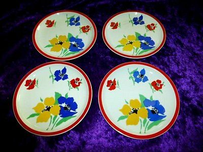 "Block Hearthstone Vista Allegra Anemone 8"" Plate Set/4 Portugal"