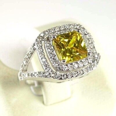 """R#10067 """"Simulated"""" Yellow Citrine gemstone ladies silver ring Size 6.75"""