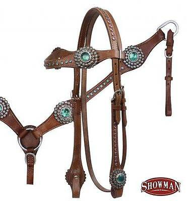 NEW Showman MEDIUM OIL Bridle Breastcollar and Reins Set w/ TEAL Rhinestones!