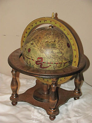Vintage Norleans Old World Globe Zodiac Wood Stand JAPAN