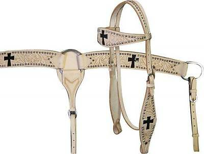 Showman LIGHT OIL Cross Cut Out Headstall Breastcollar and Reins Set! NEW TACK!