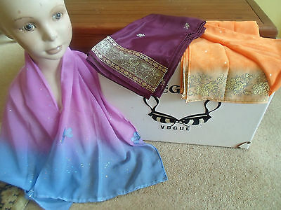 3 NEW Colourful Mixed Fibre Scarves Ladies Scarf ~ Xmas Gift Idea  #25