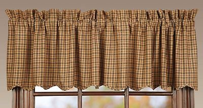 Lodge Style Window Valance Lined Red Navy Blue Tan Plaid Scalloped Hem Millsboro
