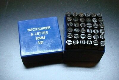 """10MM 3/8"""" Letter-number Punch Stamp Set Metal 36 PIECE in plastic case NEW"""
