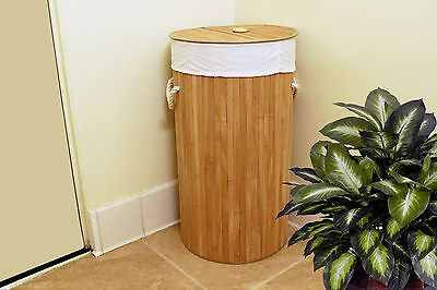 Round Bamboo Laundry Basket Hamper With Linen Cloth Natural Finish