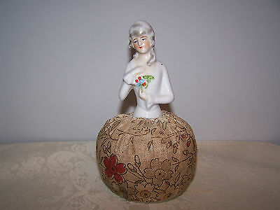 Beautiful Vintage Porcelain Half Doll Pin Cushion - Germany 16927