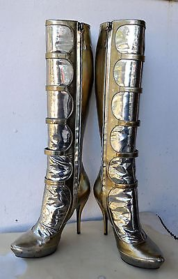 Alexander McQueen Gold & Silver Pat Leather Boots Sz 37 Italy RARE ARCHIVE STOCK