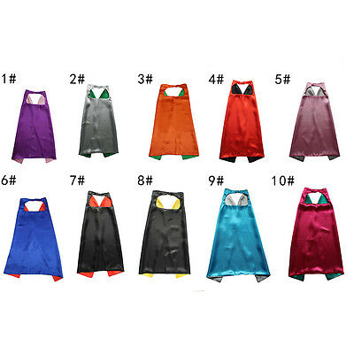 Comfortable Satin Kids Unisex Cape+ Mask Costume Double Side Solid Plain 70cm