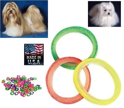 """100 pc 5/16"""" Grooming Rubber Bands Rosin Coated Top Knot Dogs Bows MULTI COLORS"""