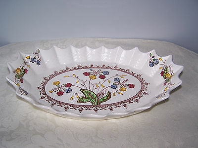 Beautiful Rare Spode Cowslip Scalloped Edge Serving Or Roll Bowl - Saw Tooth