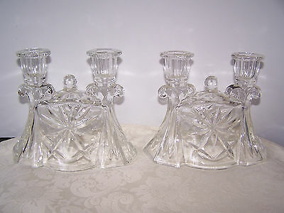 Pair Early American Prescut Eapc Double Branch Candle Holders