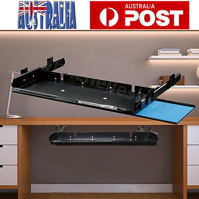 Underdesk Keyboard Drawer Mouse Tray with Slider Runner Kit Home Office Steel