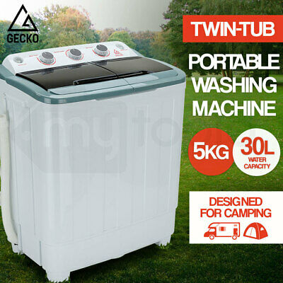 GECKO 5kg Mini Twin Tub Portable Washing Machine Camping Caravan Outdoor Boat RV
