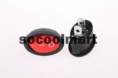 20 x AC 6A/250V 10A/125V 2 Pin ON/OFF SPST Snap in Oval Boat Rocker Switch Red