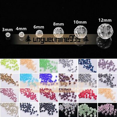Wholesale Czech Round Faceted Crystal Glass Loose Beads Crafts 3/4/6/8/10/12mm