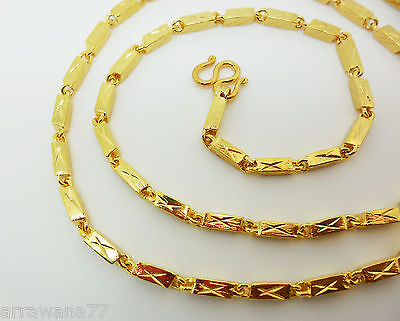 22K 24K Thai Baht Yellow Gold  GP Filled Necklace 26 inch 3 mm  Jewelry
