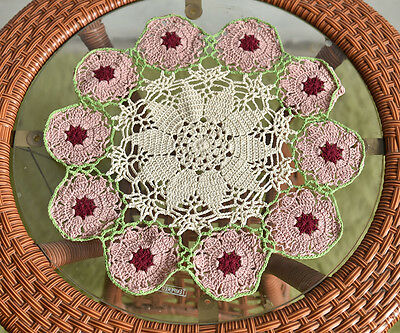Lovely Mixed Color Hand Crochet Floral Cotton Topper Doily 34CM