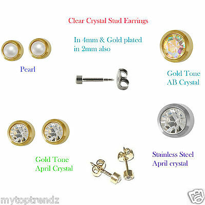 Hypoallergenic Sterile Piercing Studs Surgical Steel Stud Earrings Gold-Silver