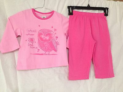 BNWT Girls Sz 1 Cute Pink Owl Logo Long Style Soft Stretch Jersey PJ Pyjamas