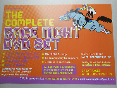 THE COMPLETE RACE NIGHT DVD HORSE RACING SET + QUIZ AND BINGO=1,440 tickets
