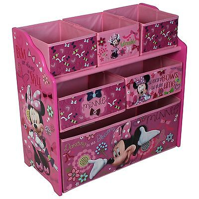 Disney Minnie Mouse Wooden Multi-bin Kids Toy Organiser Childrens Storage Tidy